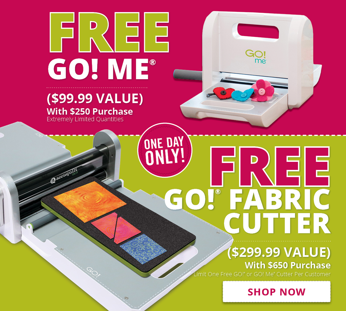 Free GO! Me or GO! Fabric Cutter | Shop Now >
